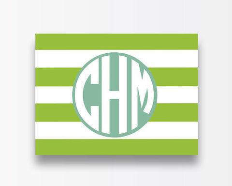 Striped Notecards - Green Horizontal