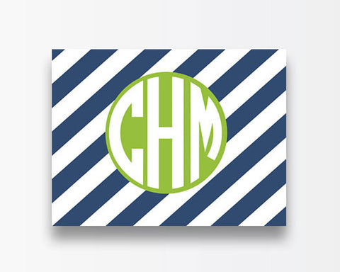 Striped Notecards - Navy