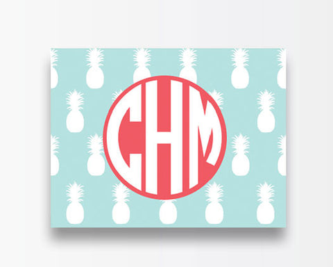 Pineapple Striped Notecards - Pool