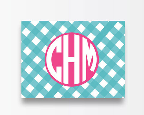 Turquoise Gingham Notecards