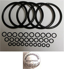 Universal Kegco type O-Ring Five Gasket Sets for Cornelius Home Brew Keg and Homebrewed With Pride keg sticker by Stir-Plate