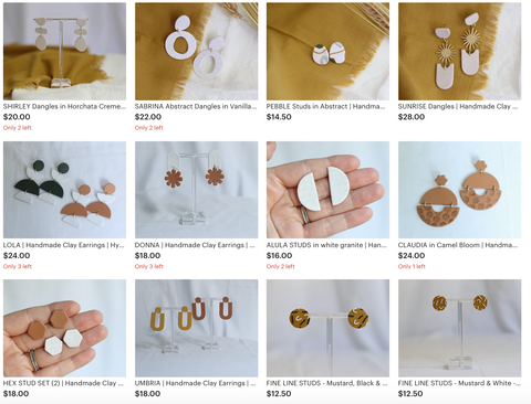 Soleil and Clay Earring Listings on Etsy