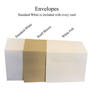 Envelope Options Plymouth Cards White Kraft Brown White Felt