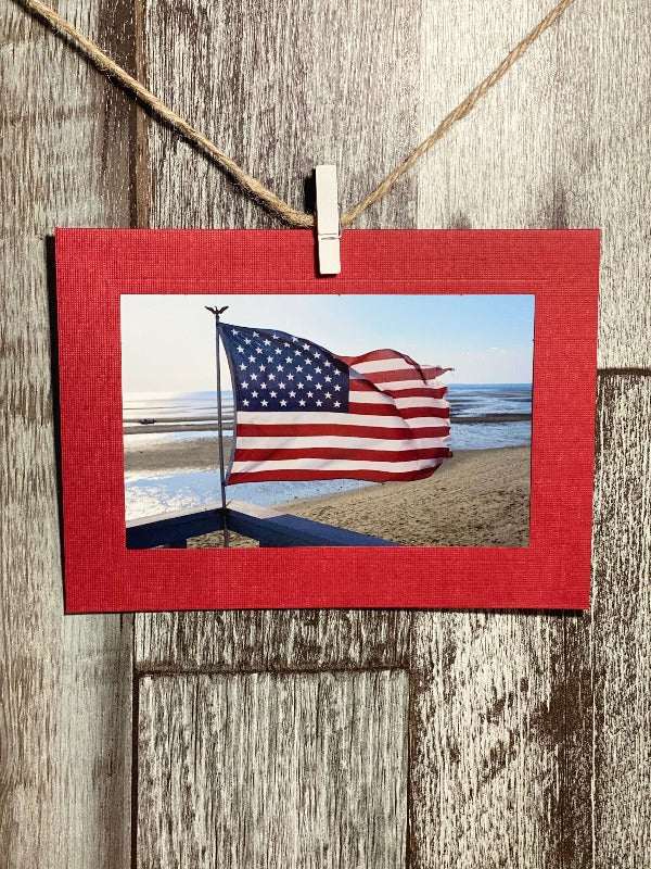 American Flag Blowing in the Wind-Plymouth Cards