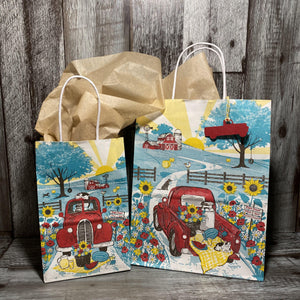 Gift Bag & Tag - Red Truck-Bags-Plymouth Cards