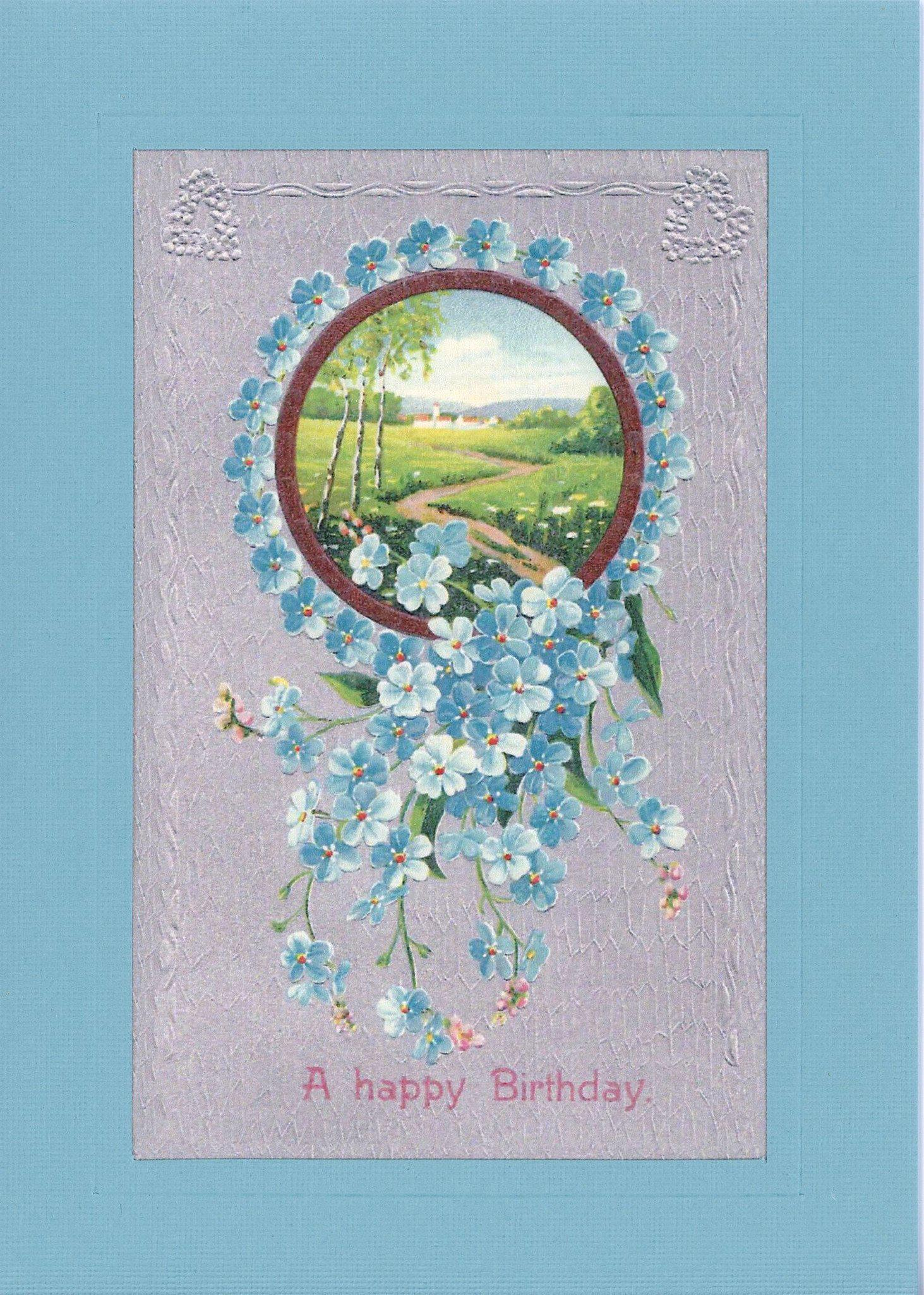 A Happy Birthday with flowers-Greetings from the Past-Plymouth Cards