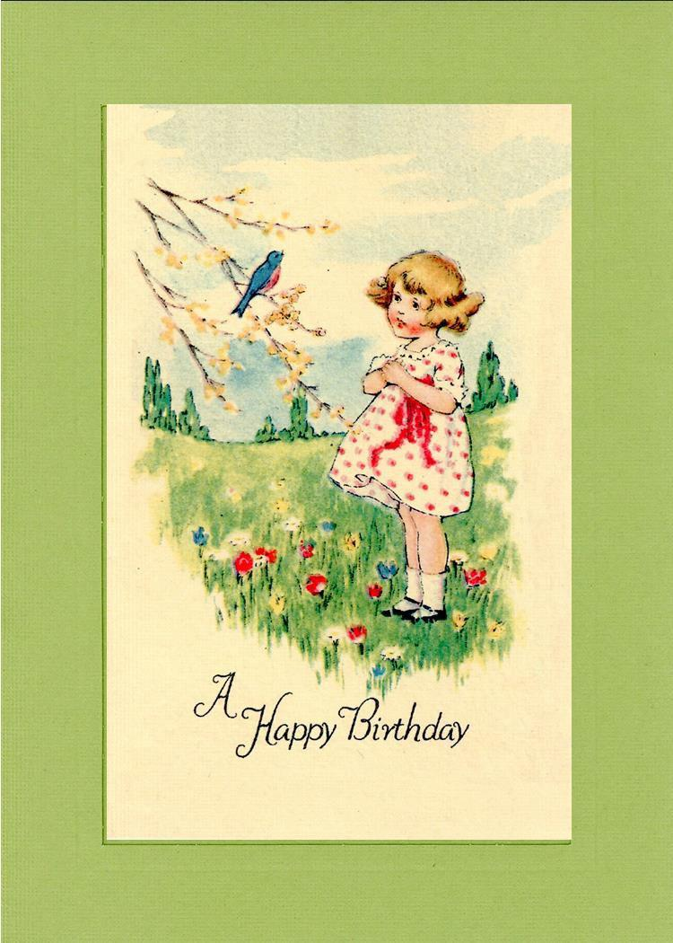 A Happy Birthday in field-Greetings from the Past-Plymouth Cards