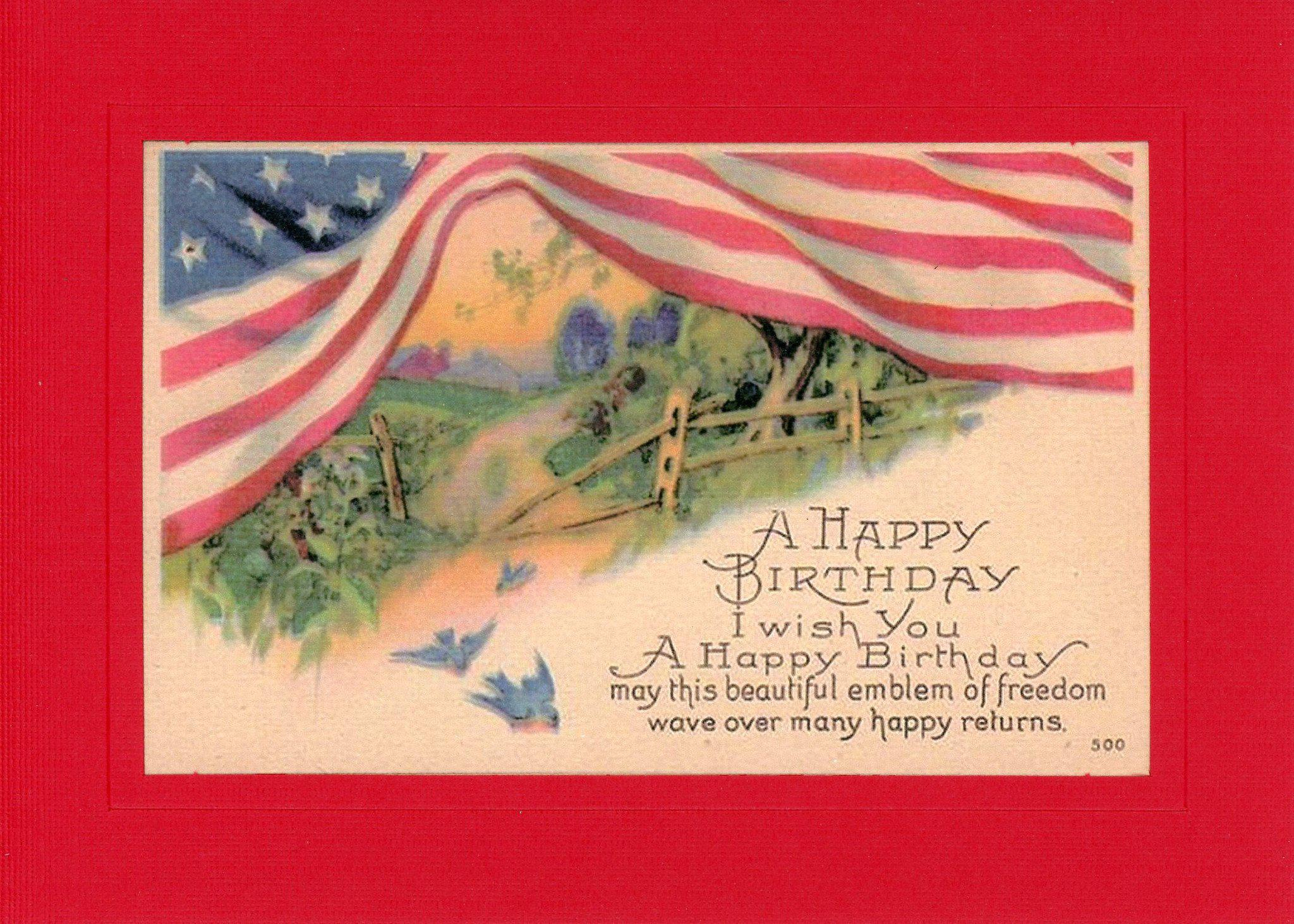 Patriotic Happy Birthday-Greetings from the Past-Plymouth Cards