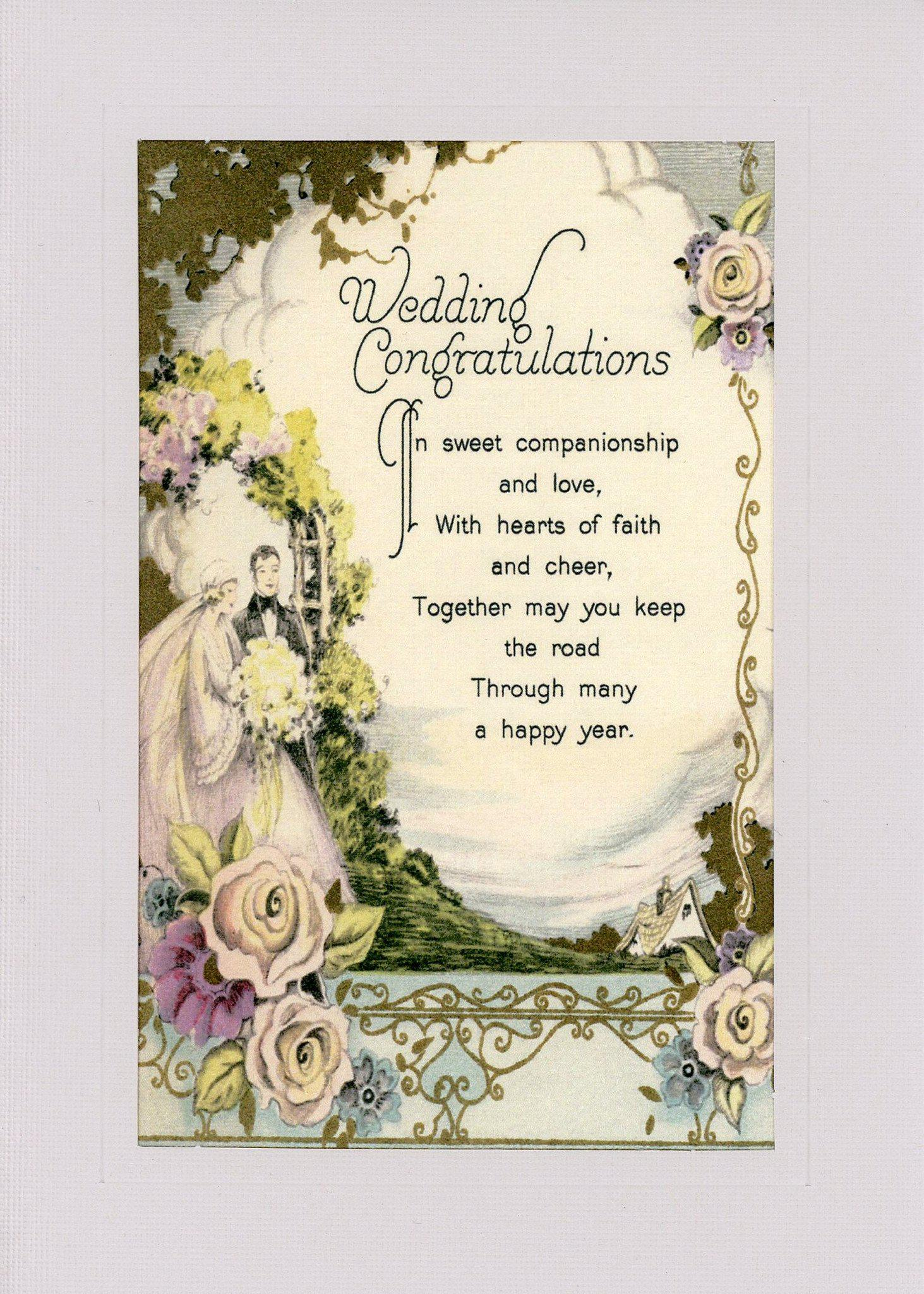 Wedding Congratulations-Greetings from the Past-Plymouth Cards