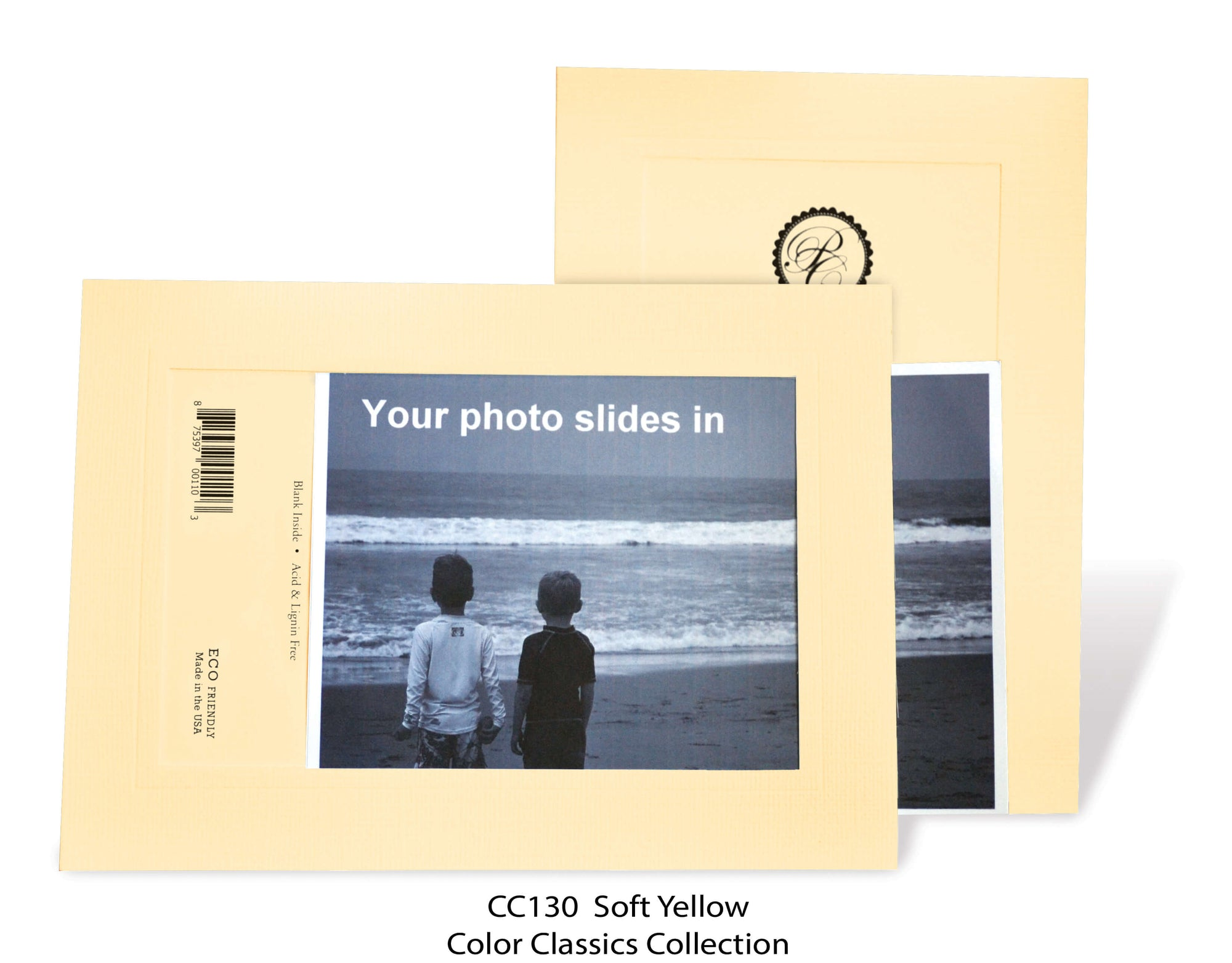 Soft Yellow #CC130-Photo note cards-Plymouth Cards
