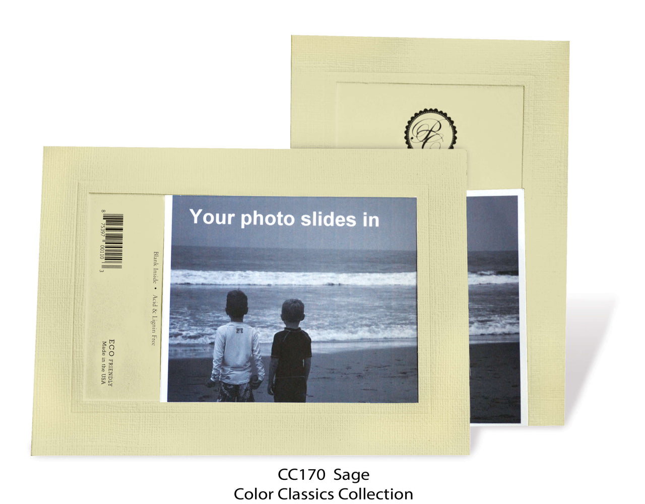 Sage Photo Insert Note Cards - Color Classics collection (color #CC170)