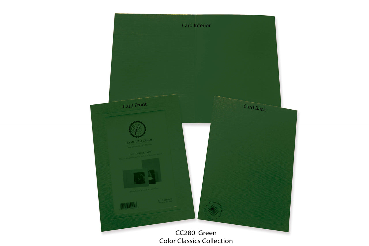Green Photo Insert Note Cards - Color Classics collection (color #CC280)