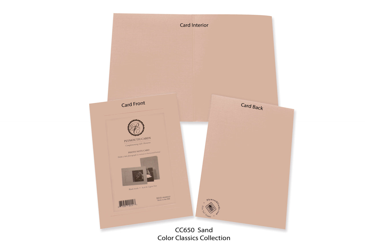 Sand Photo Insert Note Cards - Color Classics collection (color #CC650)