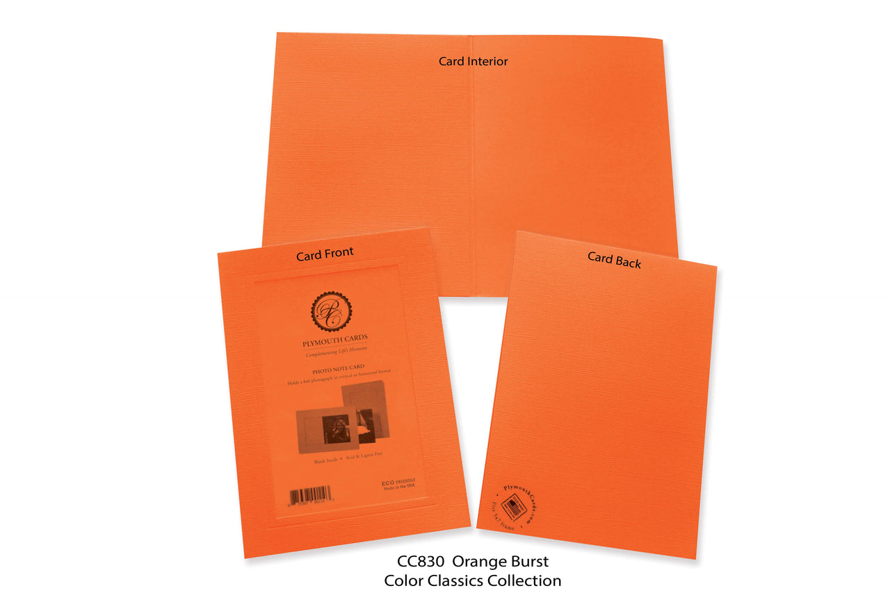 Orange Burst Photo Insert Note Cards - Color Classics collection (color #CC830)