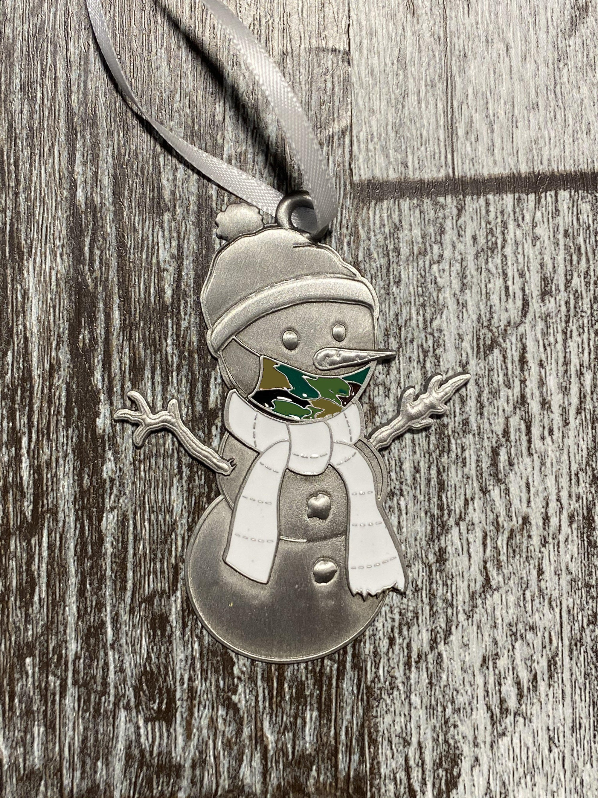Camo Clarence the Snowman Ornament-Plymouth Cards