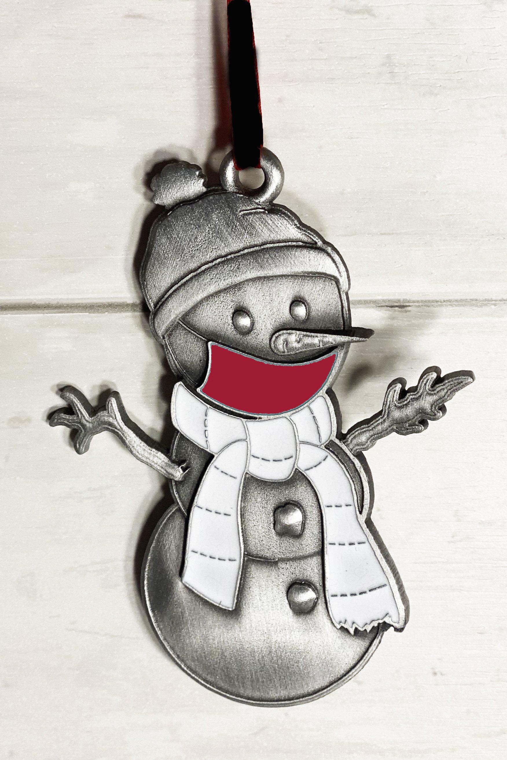 Crimson Clarence the Snowman Ornament-Plymouth Cards