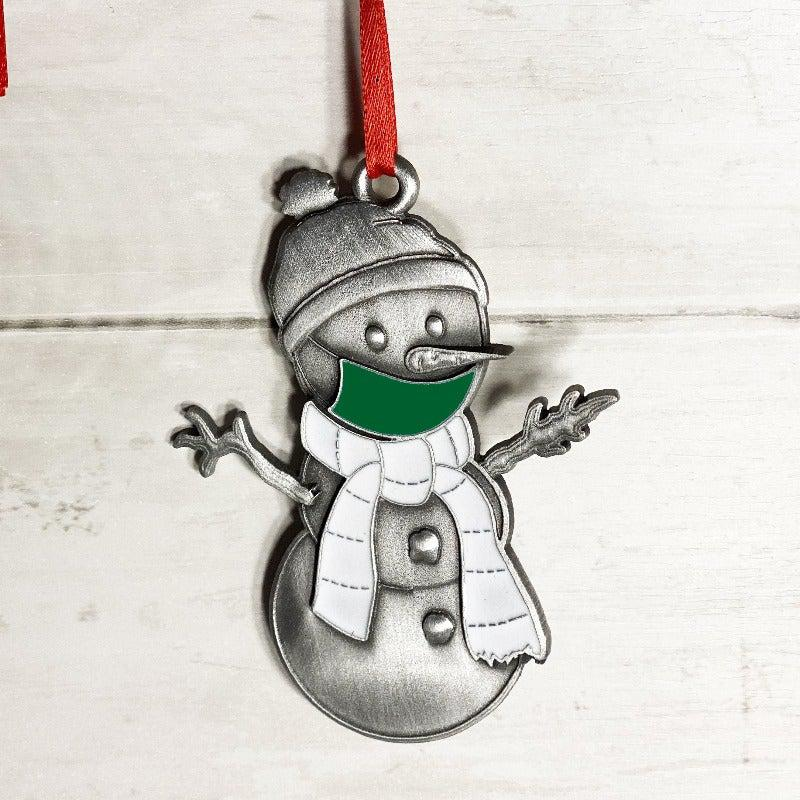 Green Clarence the Snowman Ornament-Plymouth Cards