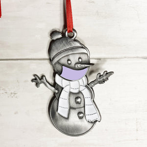 Lavender Clarence the Snowman Ornament-Plymouth Cards