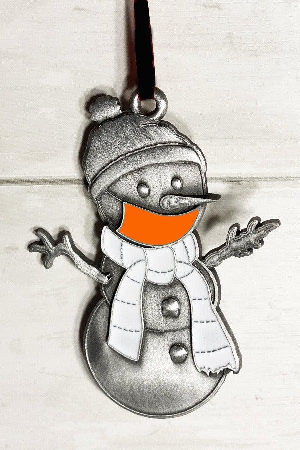 Orange Clarence the Snowman Ornament-Plymouth Cards