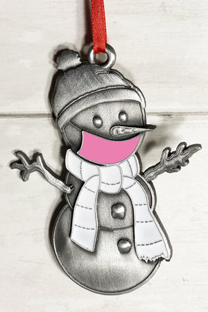Pink Clarence the Snowman Ornament-Plymouth Cards