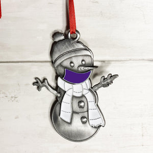 Purple Clarence the Snowman Ornament
