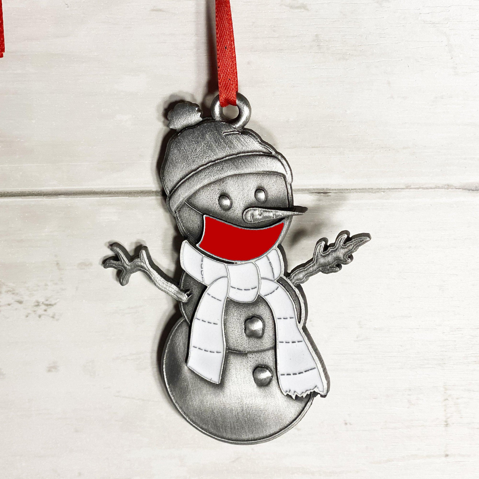Red Clarence the Snowman Ornament-Plymouth Cards
