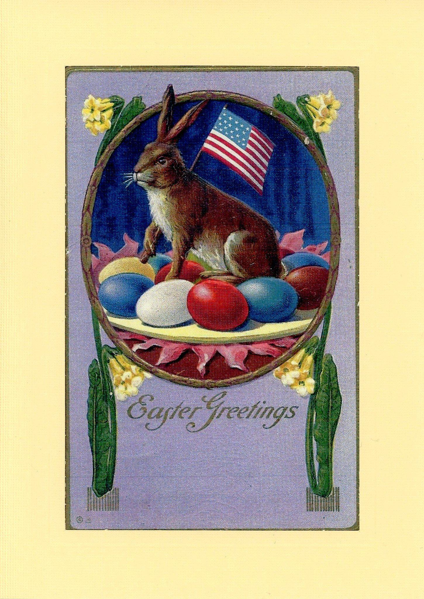 Patriotic Easter Bunny-Greetings from the Past-Plymouth Cards