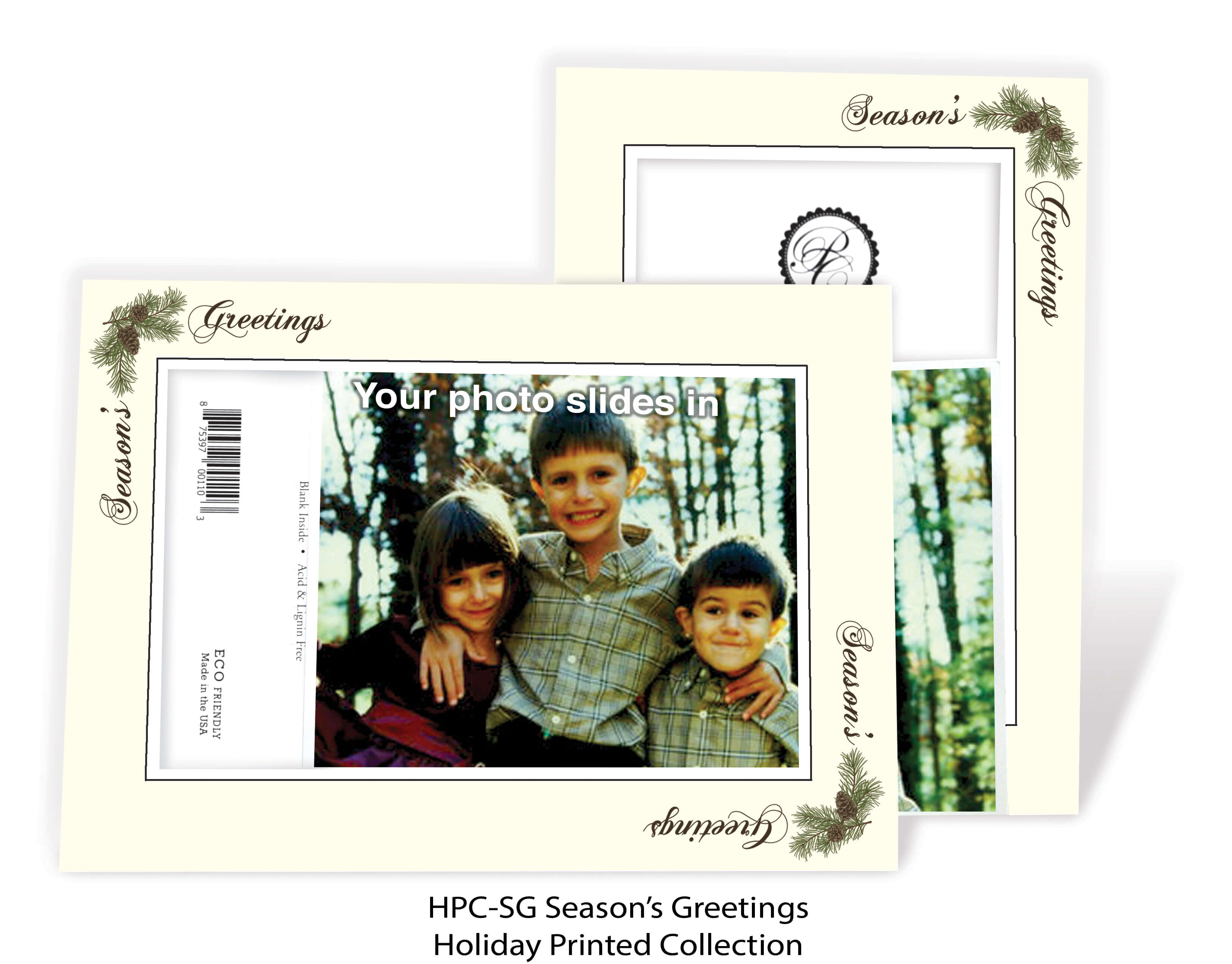Season's Greetings Pinecone - pre-printed message-Photo note cards-Plymouth Cards