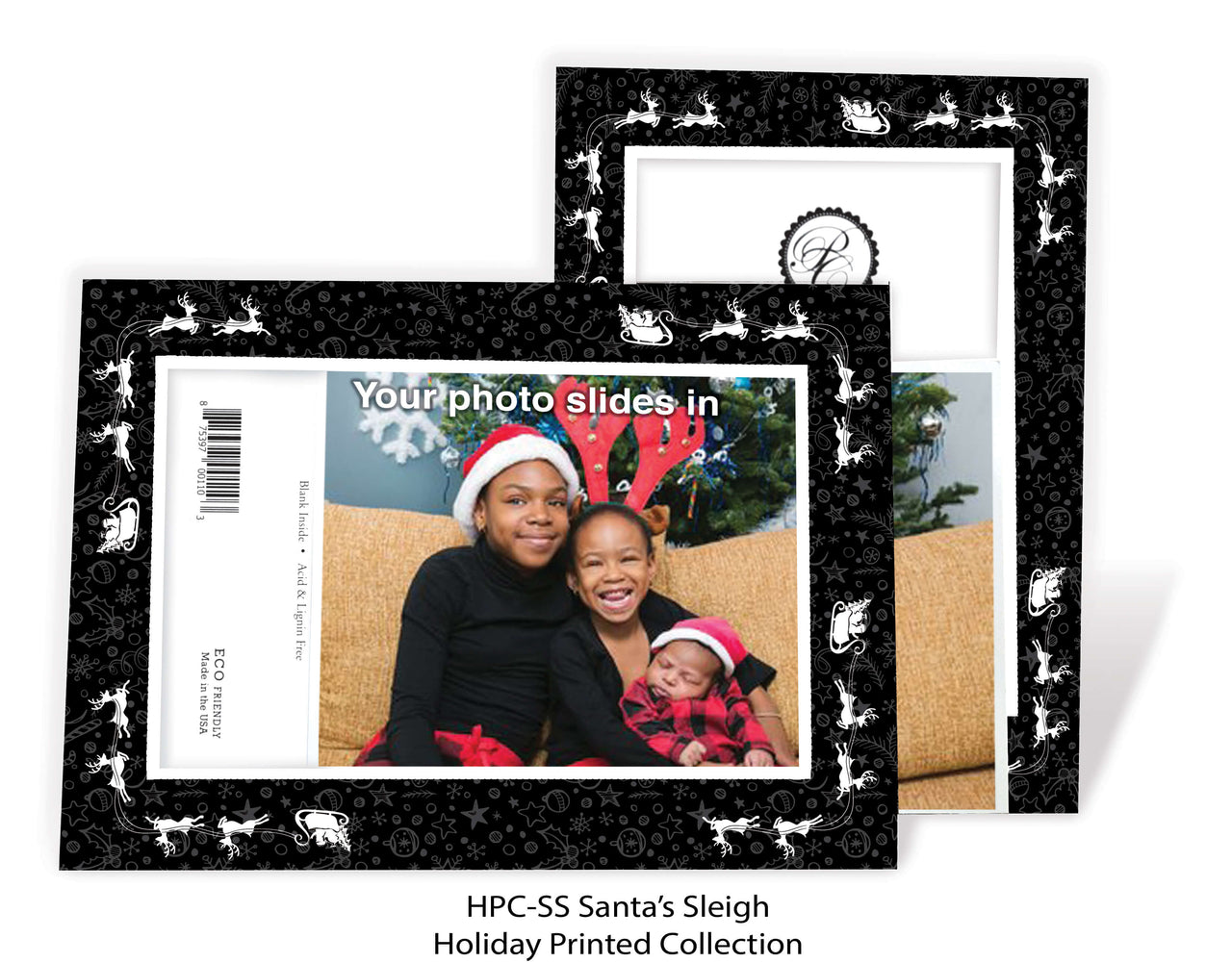 Santa Sleigh Holiday Printed Photo Greeting Cards