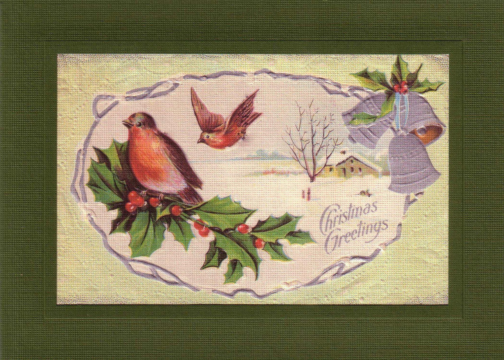 Holly Christmas Greetings-Greetings from the Past-Plymouth Cards