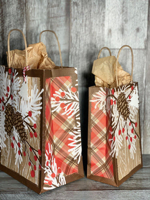 Gift Bag & Tag - Winter Pinecones-Bags-Plymouth Cards