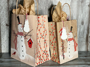Gift Bag & Tag - Snowman-Bags-Plymouth Cards
