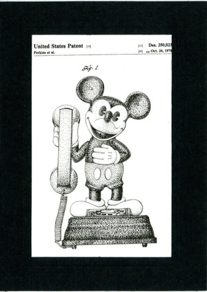Mickey Mouse Telephone Patent in Black