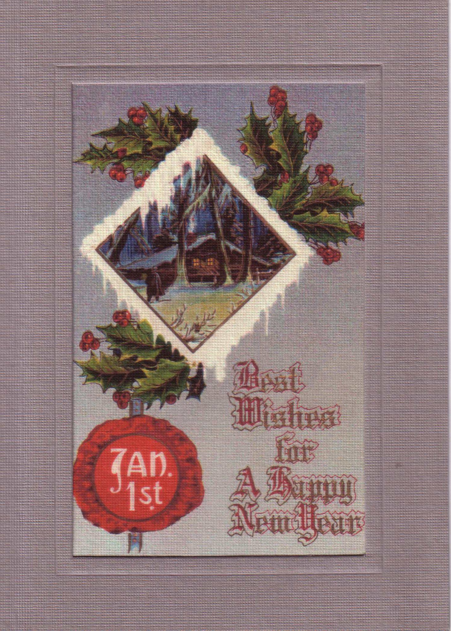 Best Wishes New Year-Greetings from the Past-Plymouth Cards