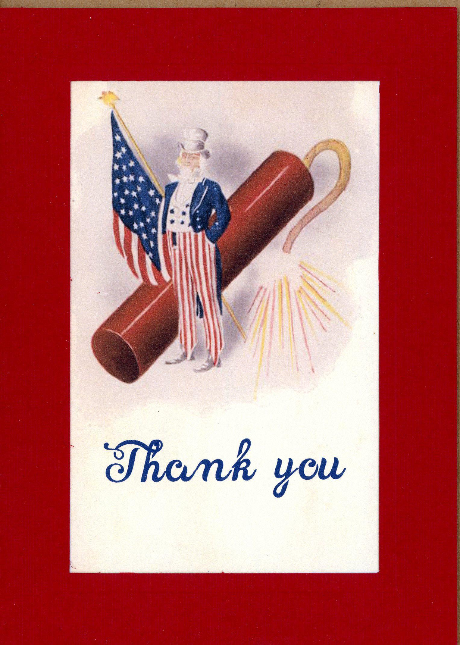 Patriotic Thank You-Greetings from the Past-Plymouth Cards