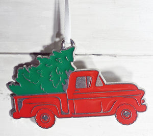 Red truck ornament from Plymouth Cards