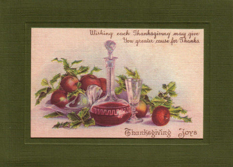"Thanksgiving ""Greetings from the Past"" Sampler - PLYMOUTH CARD COMPANY  - 6"