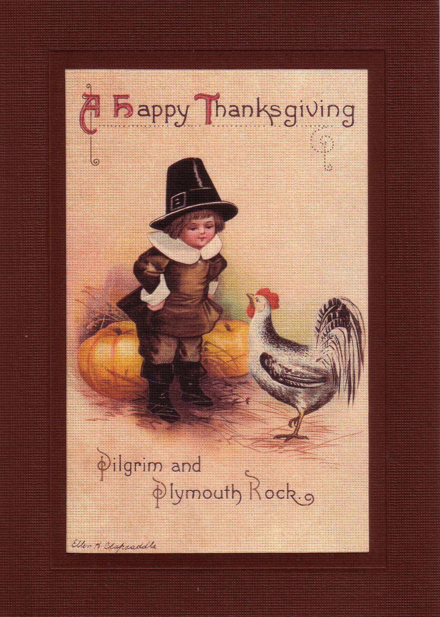 A Happy Thanksgiving-Greetings from the Past-Plymouth Cards