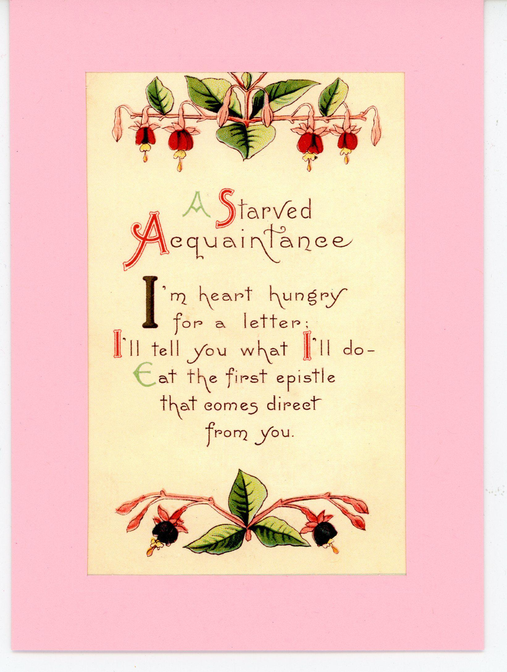 A Starved Aquaintance-Greetings from the Past-Plymouth Cards