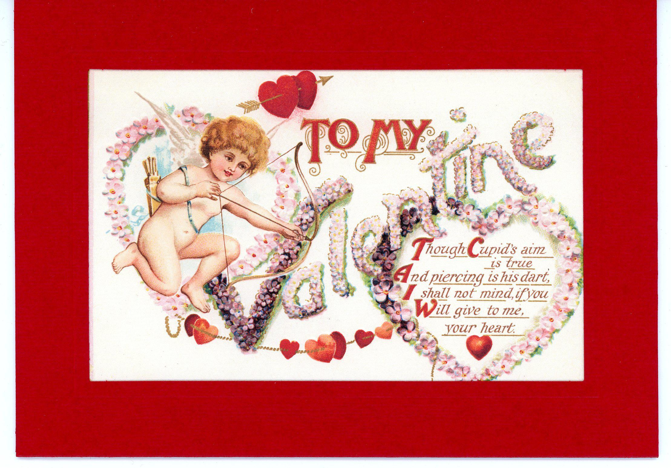 To My Valentine Cupid Pink-Greetings from the Past-Plymouth Cards