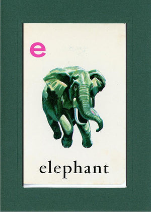 E is for Elephant-Alphabet Soup-Plymouth Cards