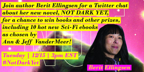 Join Berit Ellingsen for a chat about her novel Not Dark Yet for a chance to win prizes