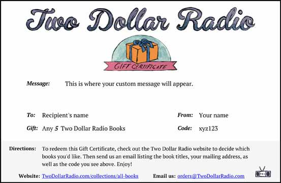 Two Dollar Radio Gift Certificate sample card