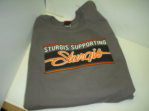 2XL Gray T-Shirt Sturgis Black Hills Supporting Sturgis