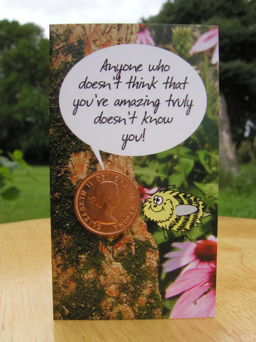 #101 - Thank you card featuring a fun cartoon bee and a 98% copper coin, minted between 1953-1996! Includes envelope for mailing and descriptive postcard.