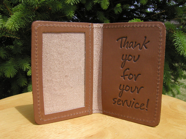 "#203 Beetle Bailey ""Thank You For Your Service"" Leather Greeting Card, Made in U.S.A.!"