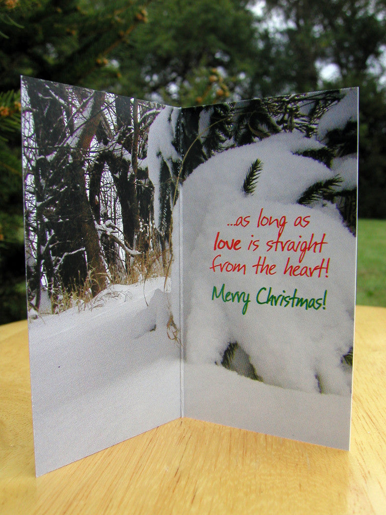 106 - Christmas card with cartoon character, leaning tree and a 98 ...