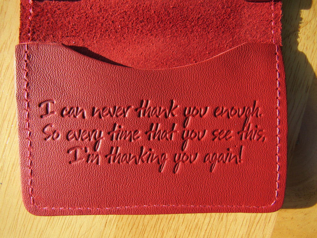 201 Leather Identification Or Gift Card Holder Thank You Greeting