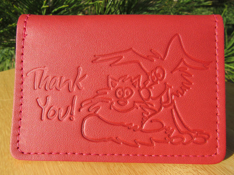 #201 Leather Identification or Gift Card Holder Thank You Greeting Card, Made in U.S.A.!