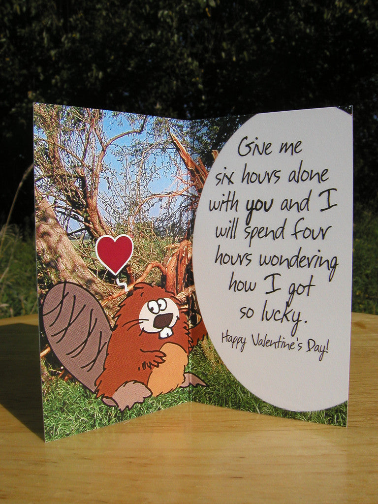Valentines Day Greeting Card 90 Silver Coin Valentine Beaver Lucky